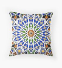 Arabic Style Vintage Patterned Tiles Throw Pillow