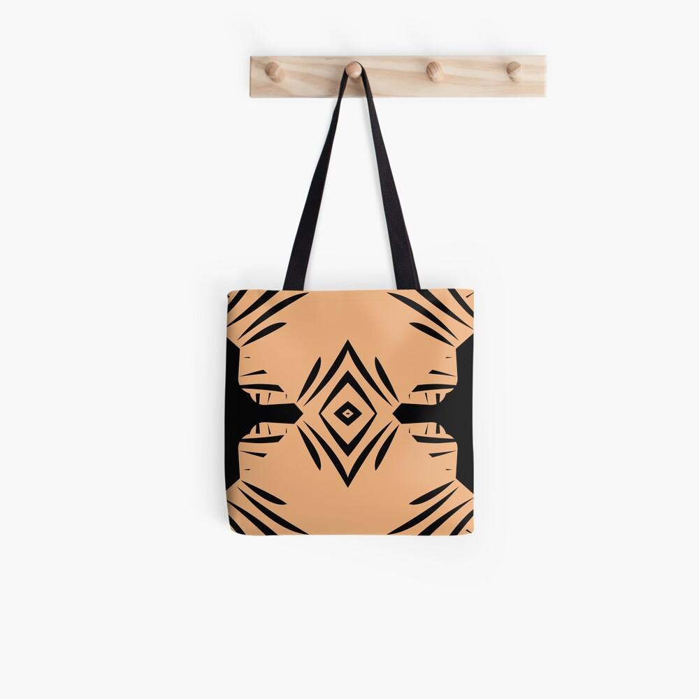 Peachy Tan with Black Stripes Tote Bag