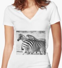 Zebra in black and white  Women's Fitted V-Neck T-Shirt