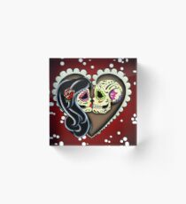 Ashes - Day of the Dead Couple - Sugar Skull Lovers Acrylic Block
