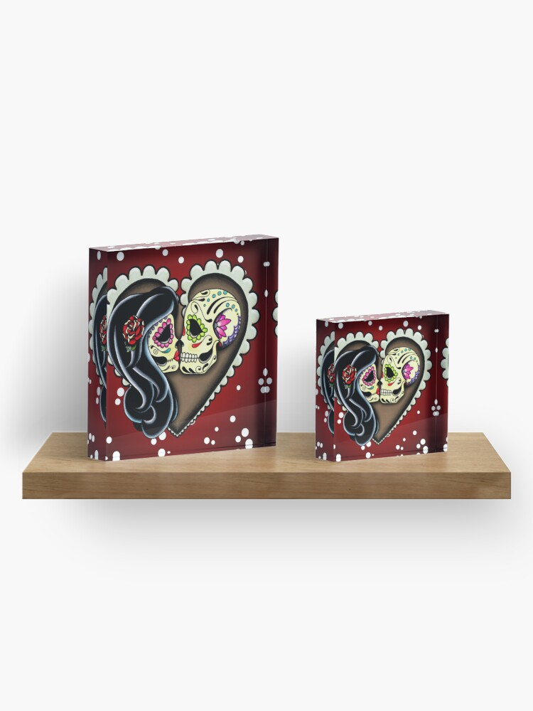 Alternate view of Ashes - Day of the Dead Couple - Sugar Skull Lovers Acrylic Block