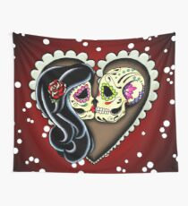Ashes - Day of the Dead Couple - Sugar Skull Lovers Wall Tapestry
