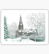 Horsforth Leeds Church in Winter Sticker