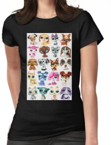 Littlest Pet Shop Dog Collage Womens Fitted T-Shirt