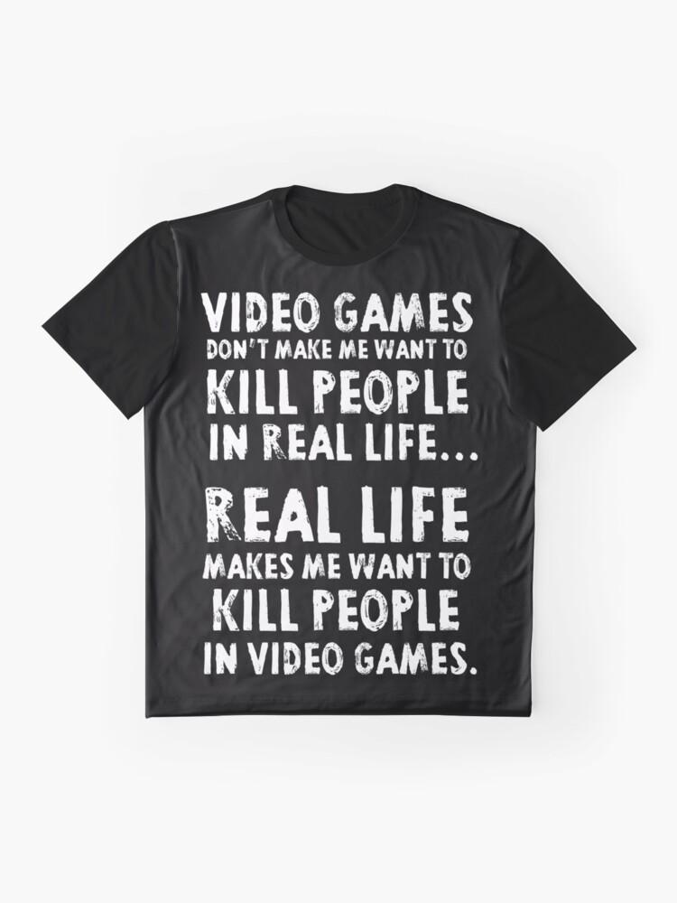 Vista alternativa de Camiseta gráfica La vida real me hace querer