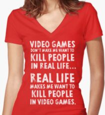 Real Life makes me wanna Women's Fitted V-Neck T-Shirt