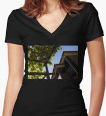Summer Courtyard - Decorated Eaves and Grape Trellis in the Sunshine Women's Fitted V-Neck T-Shirt