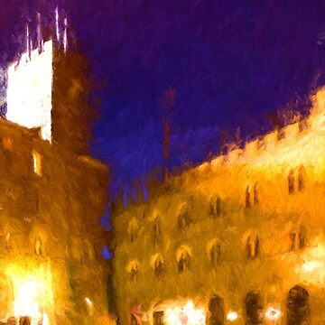 Volterra Tuscany, Piazza Dei Priori By Night by savage1