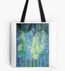 Flowers in blue and green Tote Bag