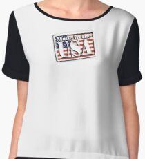Made in the USA, Stars and Stripes, AMERICAN, Flag, Manufactured in America, US, USA, American Chiffon Top