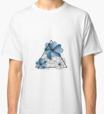 blue flowers in triangle Classic T-Shirt