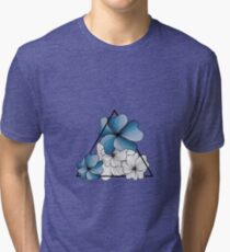 blue flowers in triangle Tri-blend T-Shirt