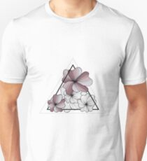 violet flowers in triangle Unisex T-Shirt
