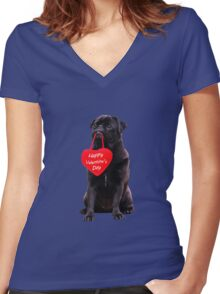 Cute Black Pug Wishing Happy Valentine's Day Heart  Women's Fitted V-Neck T-Shirt