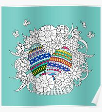 Easter eggs in basket with doodle flowers Poster