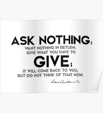 ask nothing, want nothing - swami vivekananda Poster