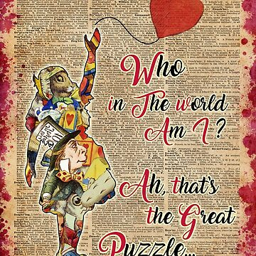 Vintage Alice in Wonderland Collage Who In The World Am I Quote by DictionaryArt