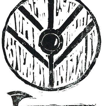Viking Shield Axe Lino by BGauntlett