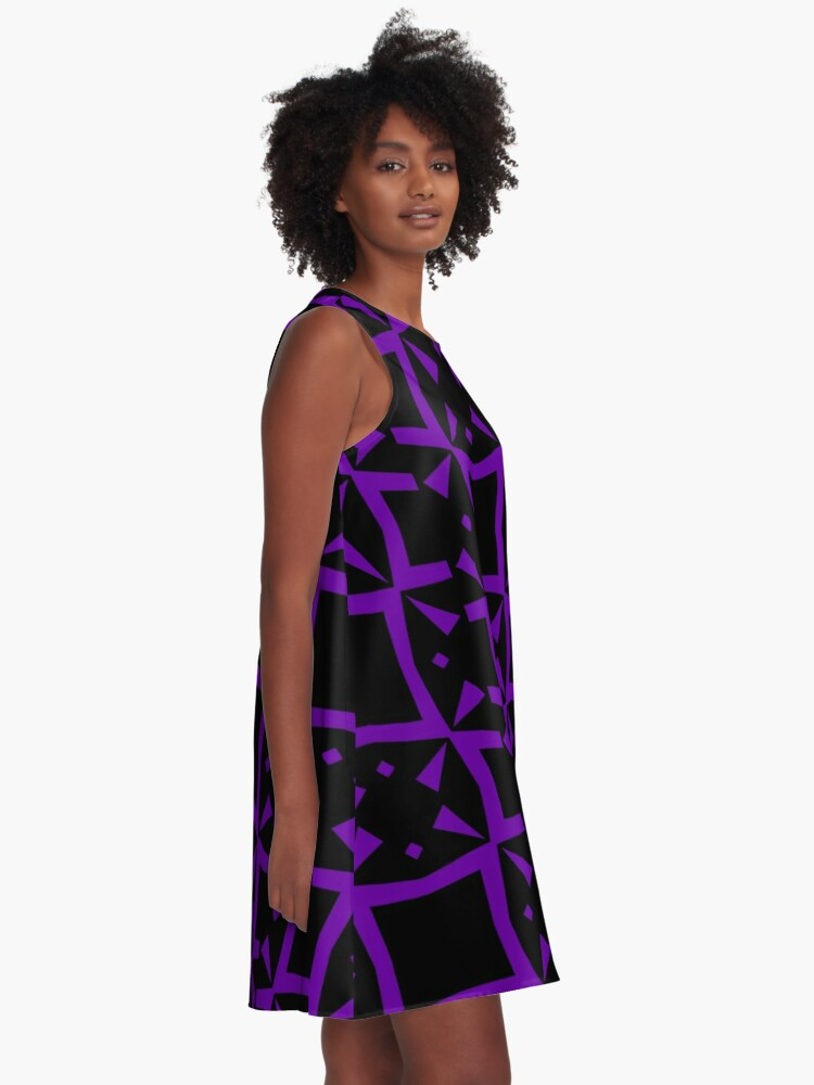 Alternate view of Black and Purple Design 3 by Julie  Everhart A-Line Dress