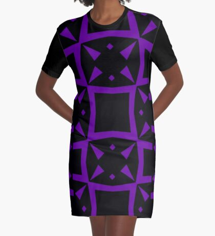 Black and Purple Design 3 by Julie  Everhart Graphic T-Shirt Dress