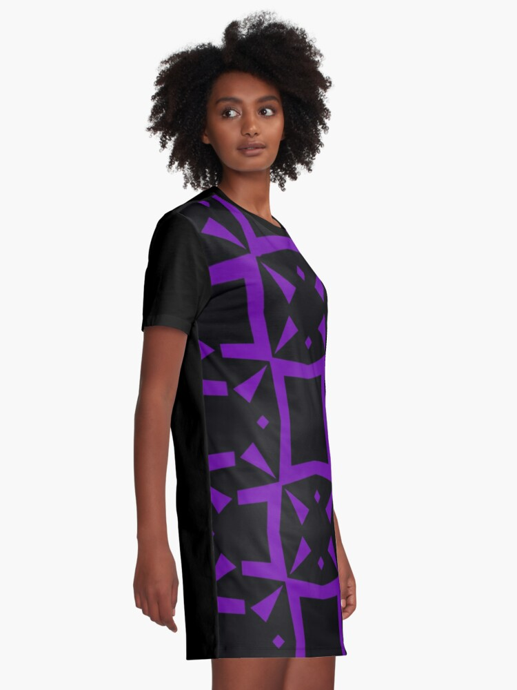 Alternate view of Black and Purple Design 3 by Julie  Everhart Graphic T-Shirt Dress