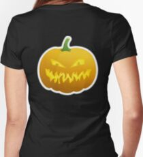Jack O' Lantern, Halloween, Pumpkin, on BLACK Women's Fitted V-Neck T-Shirt