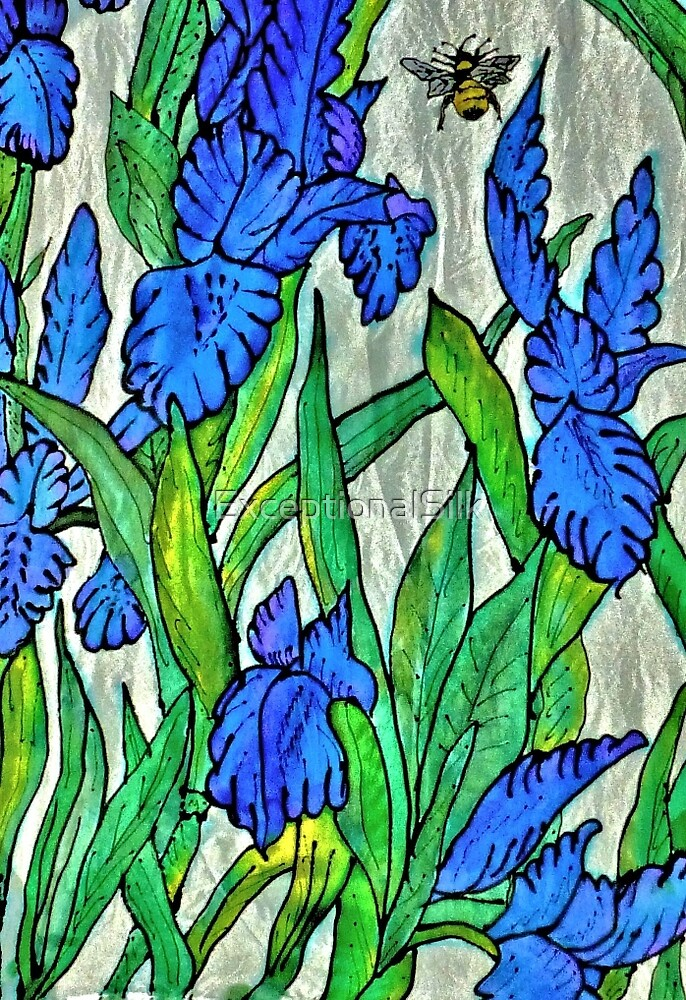 Blue Iris and Bee by ExceptionalSilk