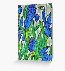 Blue Iris and Bee Greeting Card