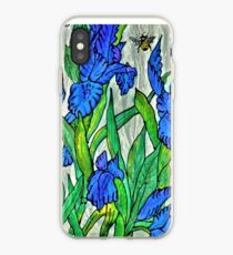 Blue Iris and Bee iPhone Case