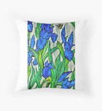 Blue Iris and Bee Throw Pillow