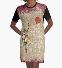 Vintage Alice in Wonderland Collage Who In The World Am I Quote Graphic T-Shirt Dress