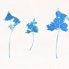 Somebody had Leaf for Lunch Trio - Blue by Mike Solomonson