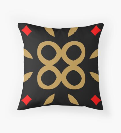 Red and Taupe Design by Julie Everhart Throw Pillow