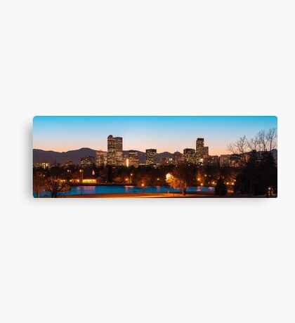 Denver Skyline Night Panorama - Colorado Photography Canvas Print