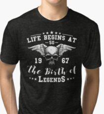 Camiseta de tejido mixto Life Begins At 50 1967 The Birth Of Legends