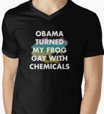 OBAMA TURNED MY FROG GAY WITH CHEMICALS Men's V-Neck T-Shirt
