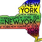 NEW YORK STATE TYPOGRAPHY ALBANY CITY BUFFALO MANHATTAN BRONX RAINBOW by MyHandmadeSigns