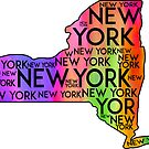 NEW YORK STATE TYPOGRAPHY ALBANY CITY BUFFALO MANHATTAN BRONX RAINBOW 2 by MyHandmadeSigns