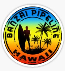 Surfing BANZAI PIPELINE OAHU HAWAII Surf Surfer Surfboard  Waves Ocean Beach Vacation Stickers Sticker
