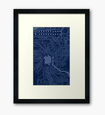 Blue Geek Motherboard Circuit Pattern Framed Print