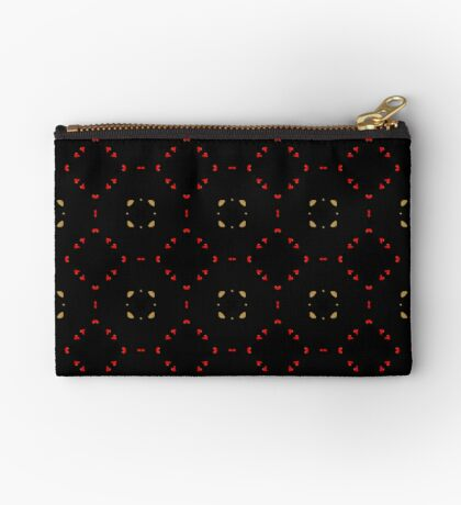 Red and Taupe Small Pattern by Julie Everhart Zipper Pouch