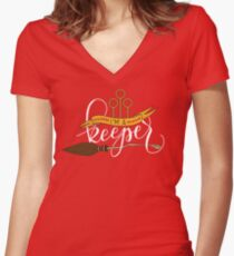 White 'I'm A Keeper' Pun - Red Women's Fitted V-Neck T-Shirt