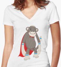 super sock Women's Fitted V-Neck T-Shirt