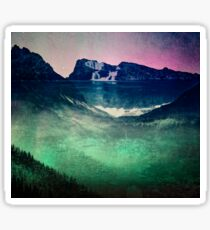 Mountains Forest and Waterfall - Cascadia Night Sticker