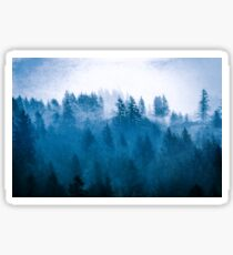 Fog Forest in the Mountains - Blue Winter Day Foggy Trees Sticker
