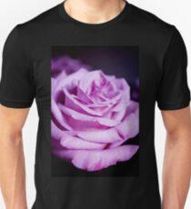 Lilac rose on black background Unisex T-Shirt