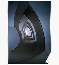 Spiral staircase in blue tones Poster
