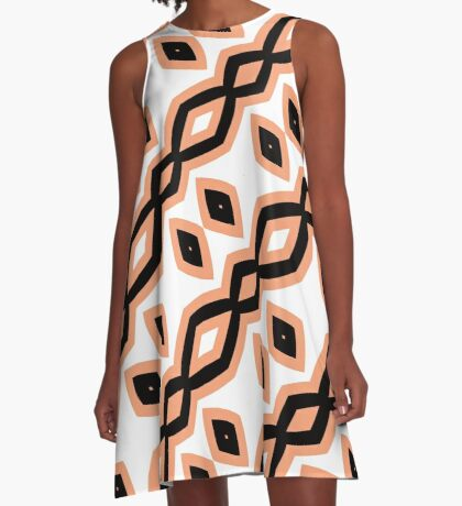 Peach and Black by Julie Everhart A-Line Dress