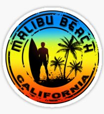 Surf MALIBU BEACH California Surfing Surfboard Waves Ocean Beach Vacation Sticker