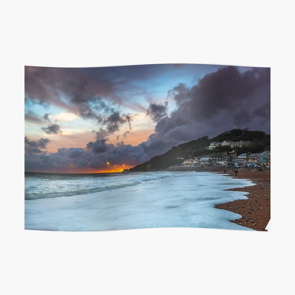 Ventnor Surfers Sunset Poster